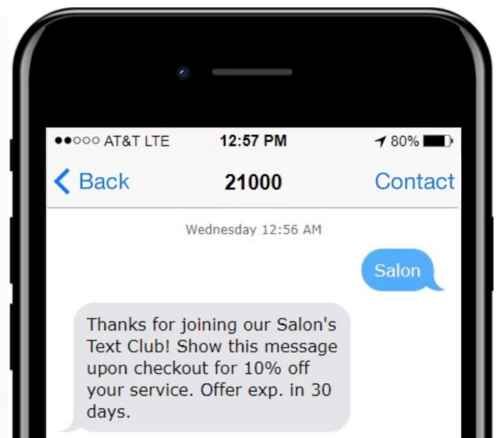 Salon auto-response text message example