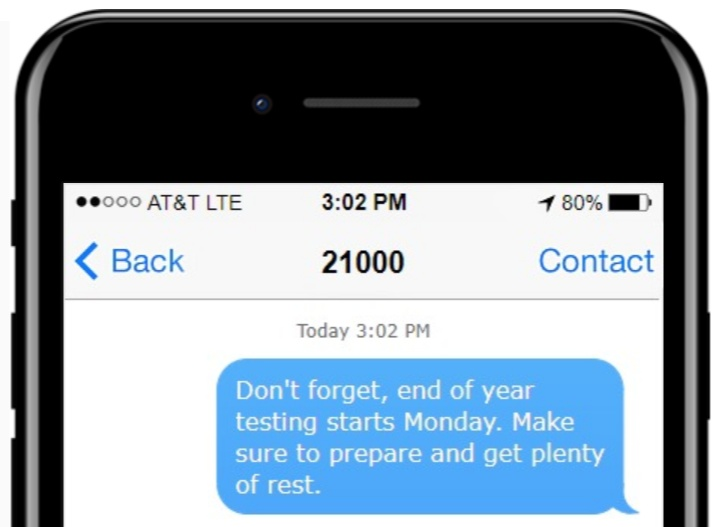 Text message example for schools