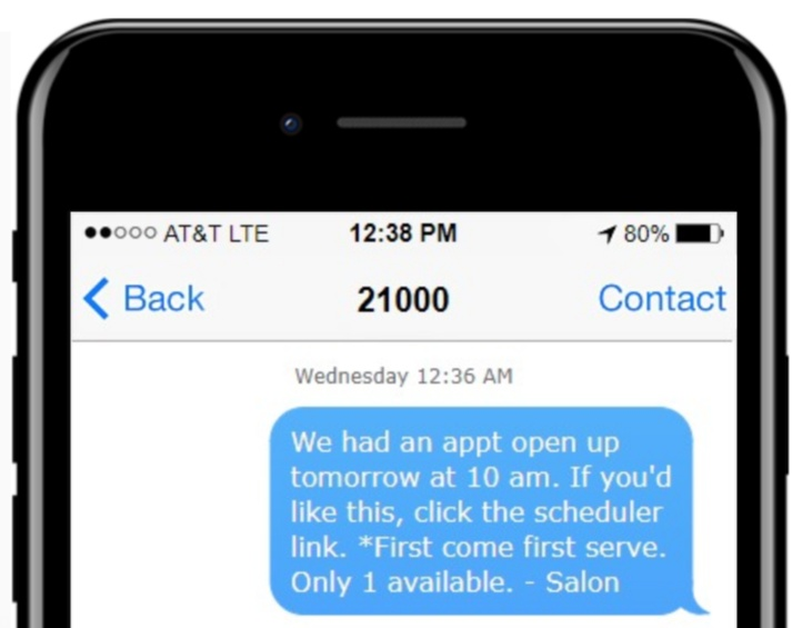 text message example for salons