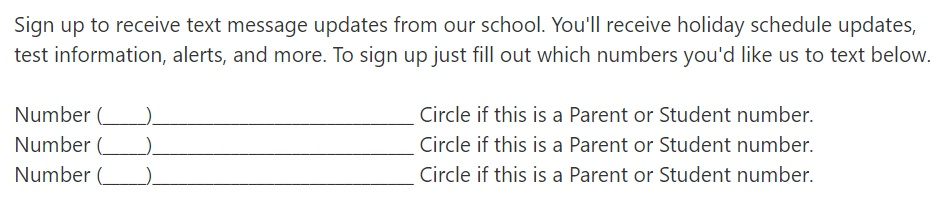 school opt in form example for text messaging