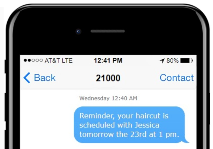Text appointment reminder for salons